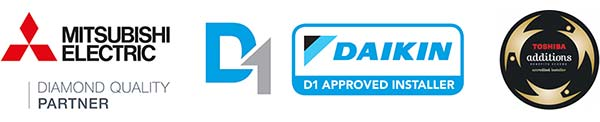 Mitsubishi Diamond Quality Partner, a Daikin D1 Partner; and Toshiba Additions Registered Installer